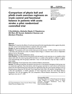 Comparison of physio ball and plinth trunk exercises